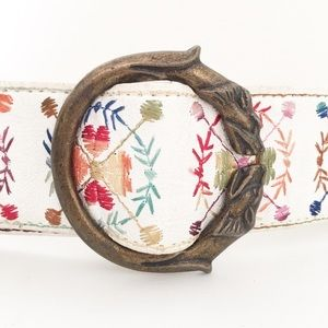 Accessories - Mutlicolor Embroidered Belt With Wolf Head Buckle